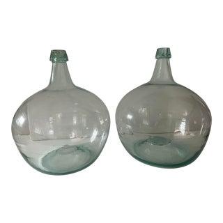 Vintage Pair of Large Handblown Bottles For Sale