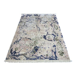 "Contemporary ""Ginger Root Pale"" Hand-Knotted Silk Rug"