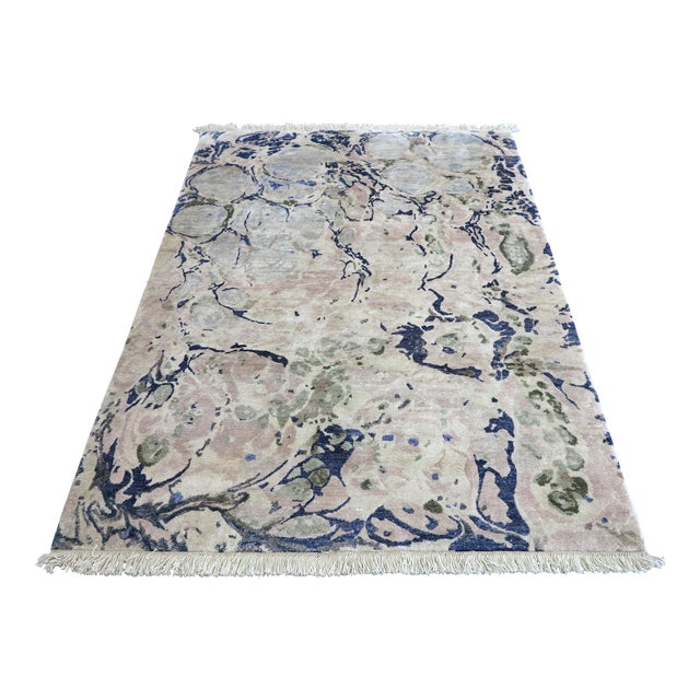 "Contemporary ""Ginger Root Pale"" Hand-Knotted Silk Rug For Sale"