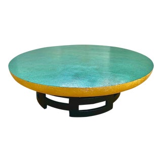 Chinoiserie Kittinger Lotus Coffee Table With Malachite Faux Finish For Sale