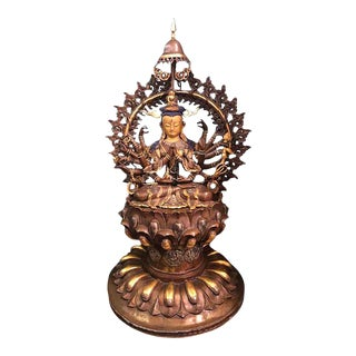 Mid 20th Century One Thousand Hands Bronze Deity Sculpture For Sale