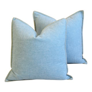 "Sky-Blue Belgian Woven Linen & Cotton Feather/Down Pillows 19"" Square - Pair For Sale"