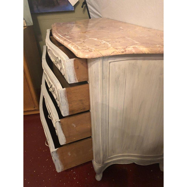 Swedish Marble-Top Four-Drawer Chest or Commode or Nightstand Louis XV Style For Sale - Image 9 of 13