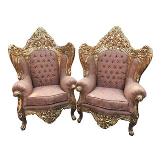 1950s Vintage Rococo Style Throne Chair For Sale