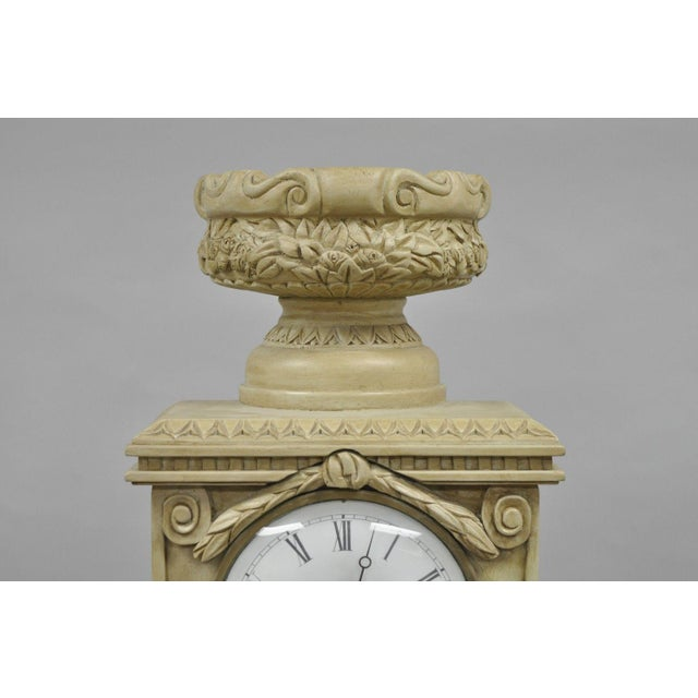 French Regency Empire Style Cream Painted Grandfather Case Standing Clock For Sale In Philadelphia - Image 6 of 13