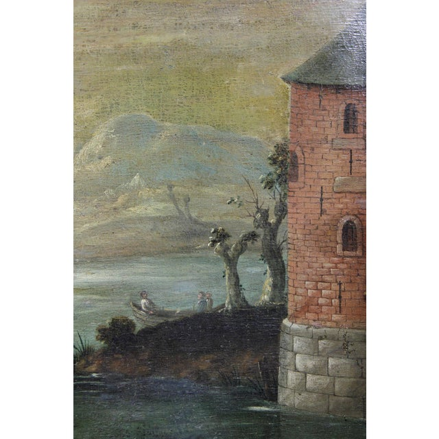 Baroque Flemish Oil on Canvas Painting of a Boat in Harbor For Sale - Image 3 of 11
