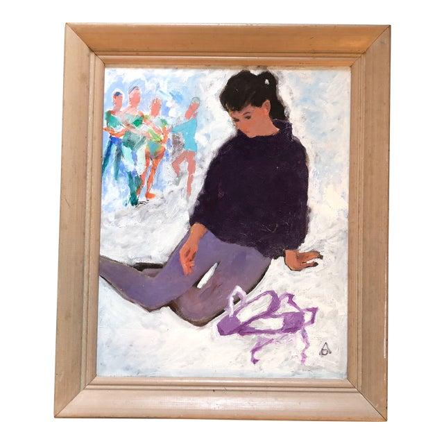 Vintage Original Modernist Dancer Painting For Sale