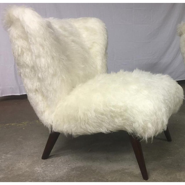 Danish awesome pair of hairy slipper chairs newly covered in Mohair faux fur.