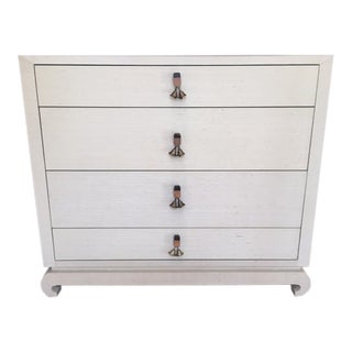 Hollywood Regency Bungalow 5 Grasscloth Wrapped Chest of Drawers For Sale