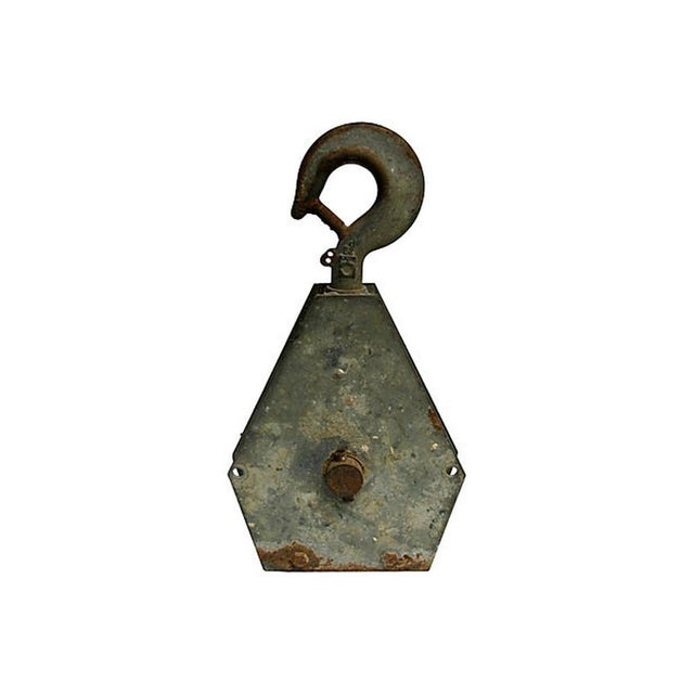 French Industrial Pulley Accent Piece For Sale - Image 4 of 7