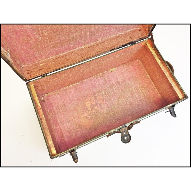 Animal Skin Vintage Industrial Green Us Military Foot Locker Trunk For Sale - Image 7 of 13