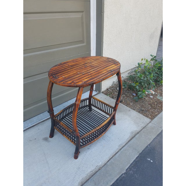 Boho Chic Antique Tortoise Bamboo Side Table For Sale - Image 3 of 4