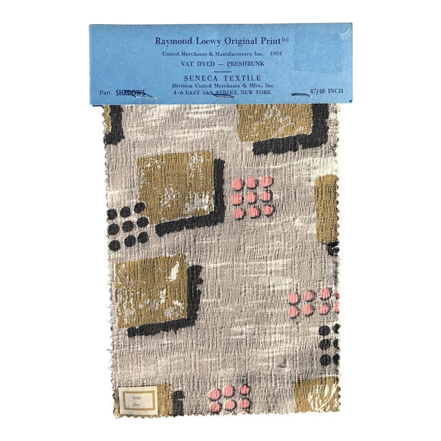 1954 Raymond Loewy Textile Swatch For Sale
