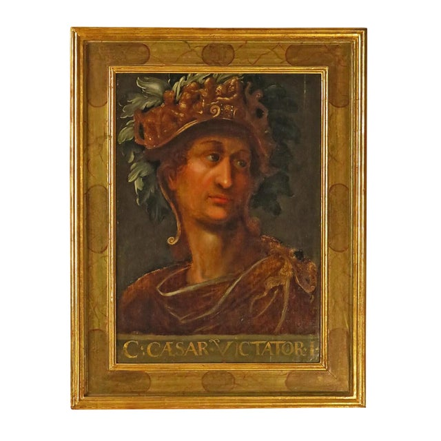Early 19th Century Grand Tour Oil Painting on Wood of Caesar For Sale