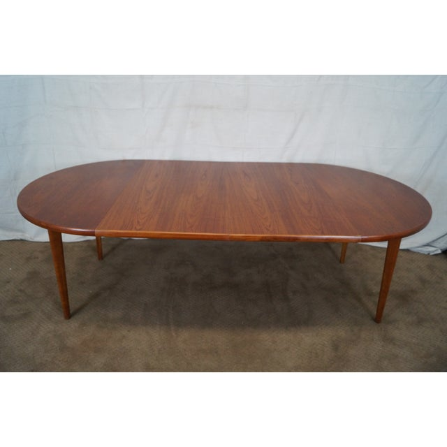 Brown Vintage Round Teak Danish Dining Table For Sale - Image 8 of 10