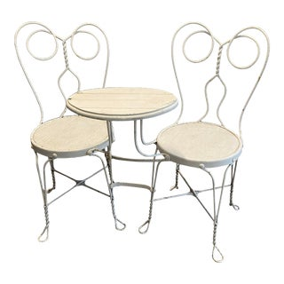 Antique 2-Seater With Tray - Ice Cream Parlor Set Used in a Coca Cola Ad For Sale