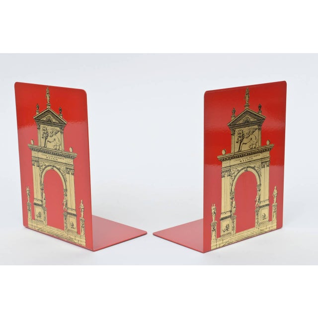 """Pair of Fornasetti Roman Classical """"Porta"""" Metal Bookends For Sale In Miami - Image 6 of 9"""