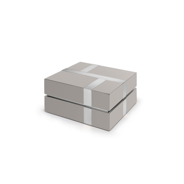 Contemporary Flair Home Collection Righe Box in Taupe / Nickel For Sale - Image 3 of 3