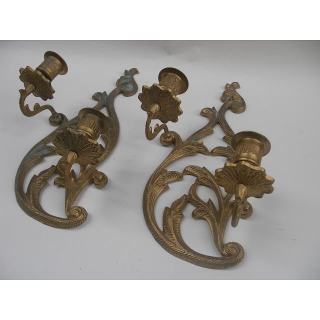 Traditional Cast Brass Candleholder Wall Sconces - A Pair For Sale - Image 3 of 5