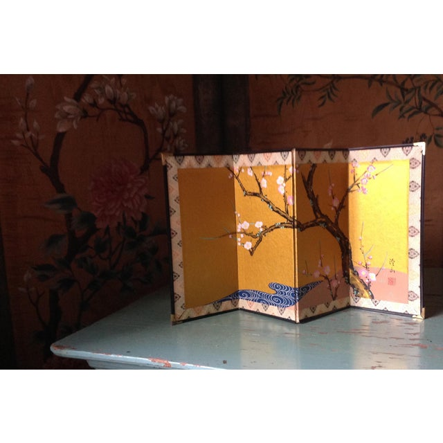Asian Chinese Cherry Blossoms Hand Painted Screen For Sale - Image 3 of 5