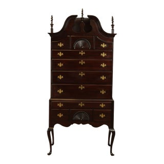 Queen Anne Style Vintage Bench Made Mahogany Bonnet Top Highboy For Sale