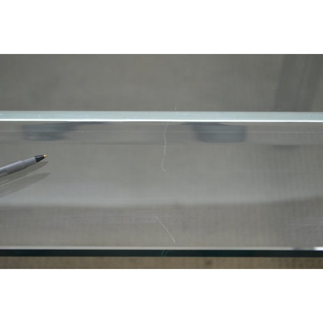 1970s Mid Century Modern Chrome Base Rectangular Glass Top Dining Table For Sale - Image 5 of 13
