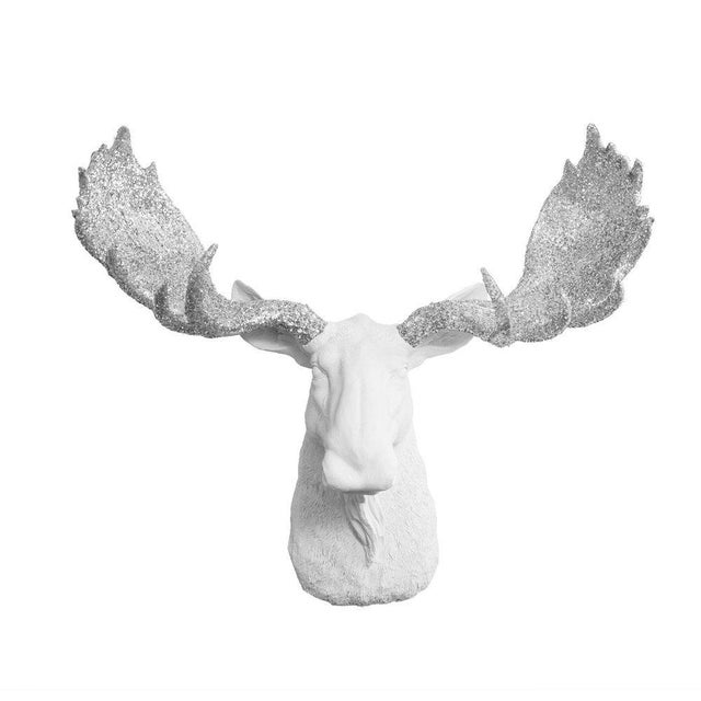 Wall Charmers White & Silver Faux Taxidermy Moose Head Wall Sculpture - Image 3 of 3
