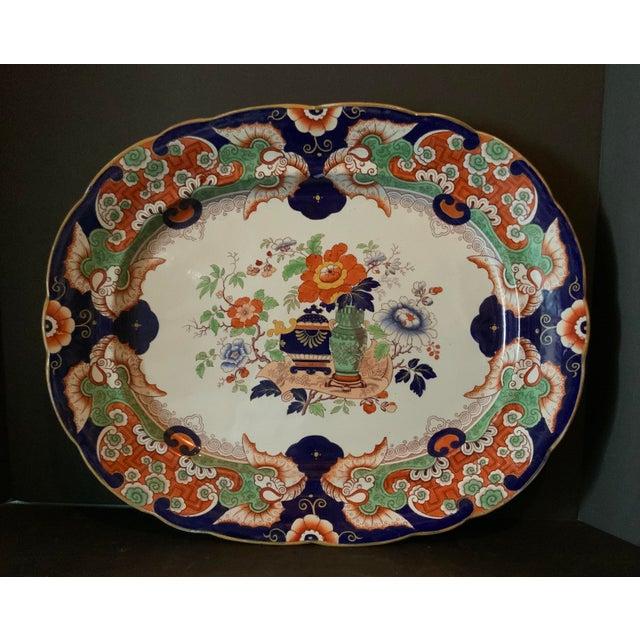 Antique English Ironstone China 266 large platter hand painted and beautiful