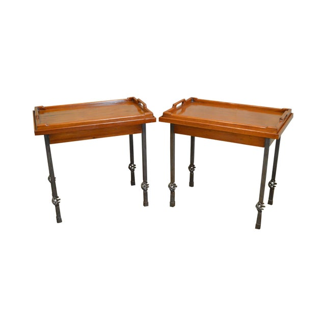 Custom Pair of Iron Base Tray Top Side Tables - Image 11 of 11