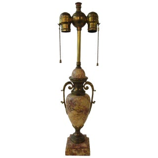 1920s Classical Marble Lamps With Brass Accents For Sale