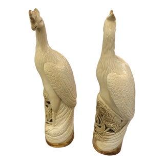 Porcelain Phoenix Bird Statues-a Pair For Sale