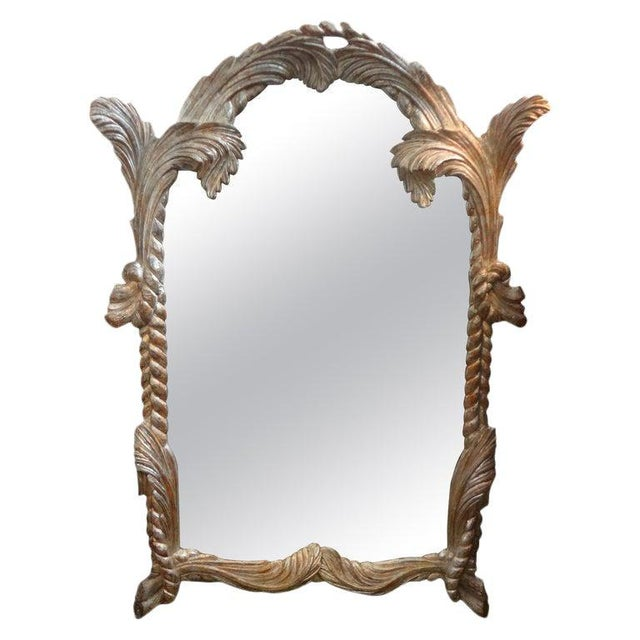 Vintage Serge Roche Inspired Carved Wood Silver Gilt Palm Frond Mirror For Sale - Image 11 of 12