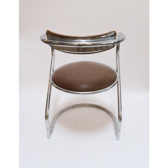Chrome Deco Faux Leather Accent Chair - Image 4 of 7