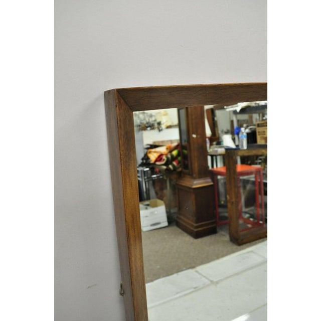 Mid-Century Modern Vintage Mid Century Modernist Walnut Rectangular Wall Dresser Deep Frame Mirror For Sale - Image 3 of 11