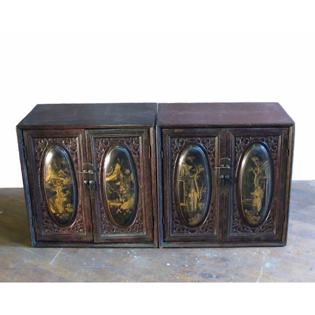 Late 19th Century Chaozhou Painted & Carved Cabinets on Stand - Set of 3 For Sale - Image 5 of 13