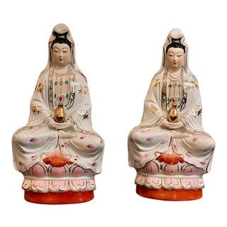 Vintage Porcelain Hand Painted Kuan Yin Sculptures For Sale