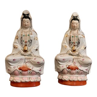 Vintage Porcelain Hand Painted Kuan Yin Sculptures - A Pair For Sale