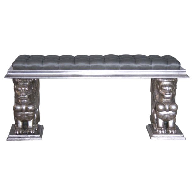 1920s French Carved and Gilded Gargoyle Bench For Sale
