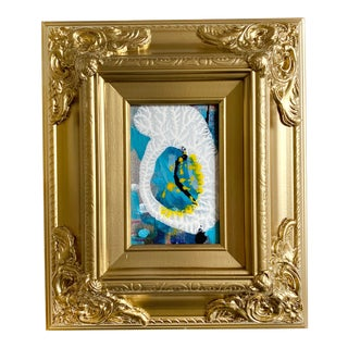 Blue Egg Mini Painting With Ornate Frame For Sale
