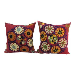 Pair of Vintage Red Embroidery Floral Suzani Pillows