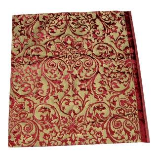 Gold Silk Italian Hand Printed Ardecora Velvet 1.68 Yard Coupon For Sale