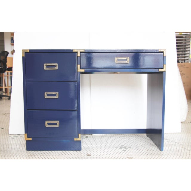 Navy Campaign-Style Desk - Image 2 of 7