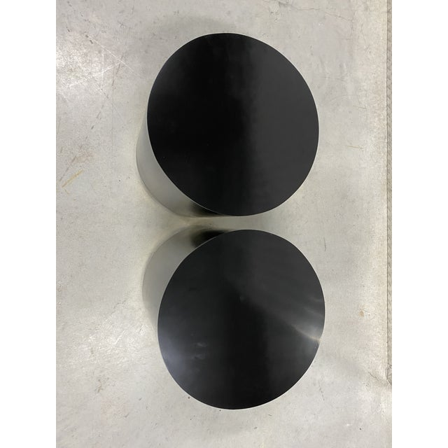 Mid-Century Modern Black Lacquer & Brass Cylinder Drum Side Tables - a Pair For Sale - Image 3 of 6