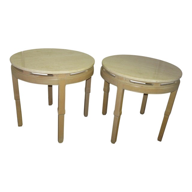 Asian Style Round Table With Marble Tops - a Pair For Sale