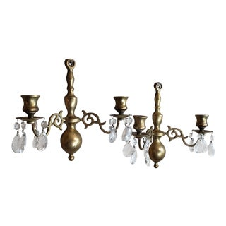 Antique Brass and Crystal Colonial Candle Sconces - a Pair For Sale
