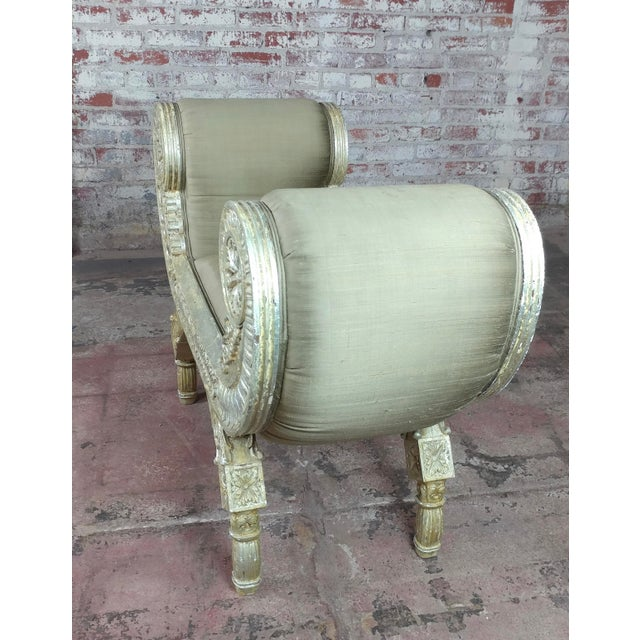 """Silver Gilt & Upholstery Vintage Bed or Window Bench size 45 x 17 x 31"""" seat height 19"""""""