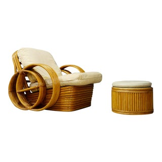 Mid-Century Rattan Armchairs With Ottoman in the Style of Paul Frenckl, 1950s For Sale