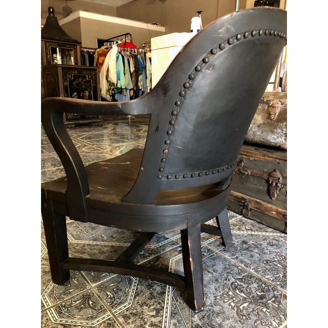 1940s Vintage Stout and Wide Wood and Leather Studded Bowed Back Reading Chair For Sale In Sacramento - Image 6 of 12
