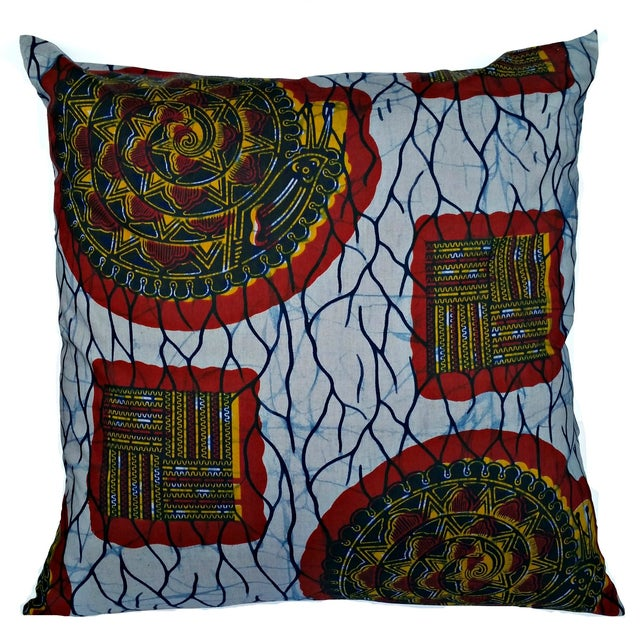 XL African Wax Print Fabric Pillow - Image 1 of 4