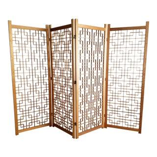 Vintage Teak Screen Room Divider - 4 Panel For Sale
